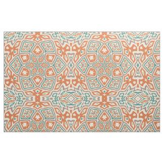 Turquoise Teal Orange Retro Nouveau Deco Pattern Fabric