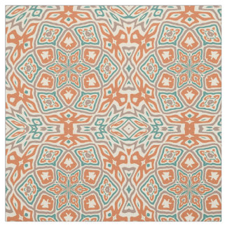 Turquoise Teal Orange Taupe Kaleidoscope Pattern Fabric