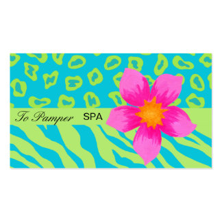 Turquoise Teal, Pink & Green Zebra & Cheetah Skin Pack Of Standard Business Cards