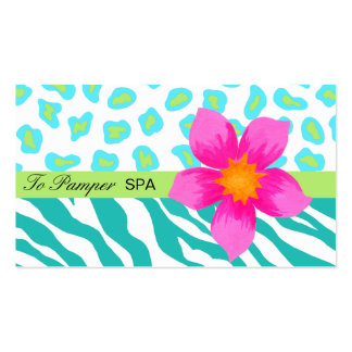 Turquoise, Teal, Pink & Green Zebra & Cheetah Skin Pack Of Standard Business Cards