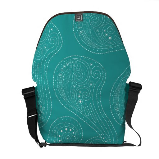 Turquoise Teal swirls Courier Bags
