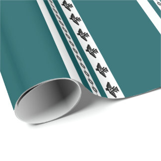 Turquoise Teal Thunderbird Stripes Wrapping Paper