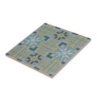 Turquoise Teal Yellow Orange Eclectic Ethnic Look Tile