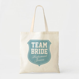 Turquoise Team Bride tote bags for wedding party