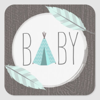 Turquoise Tipi Baby Shower Sticker