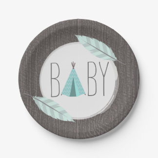 Turquoise Tipi Baby Shower - Wood Inspired Paper Plate