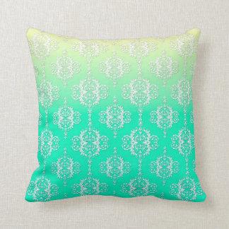 Turquoise to Yellow Damask Pattern Cushion
