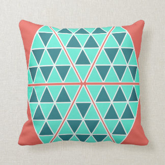 Turquoise Triangles / Pyramids Throw Pillow