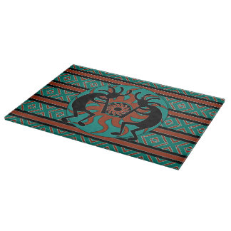 Turquoise Tribal Sun  Kokopelli Southwest Design Cutting Board