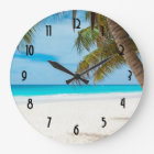 Turquoise Tropical Beach Large Clock
