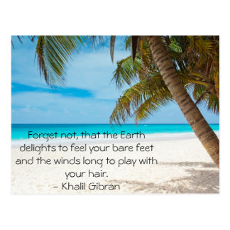 Turquoise Tropical Beach with inspirational quote Postcard