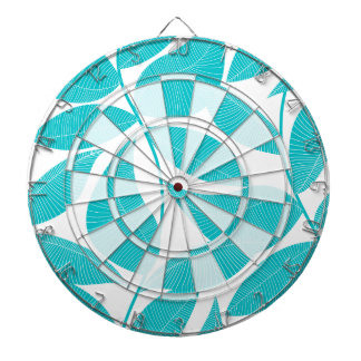 Turquoise tropical leaves dartboard