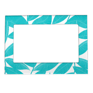 Turquoise tropical leaves magnetic frame