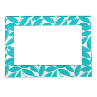 Turquoise tropical leaves magnetic picture frame