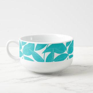 Turquoise tropical leaves soup mug