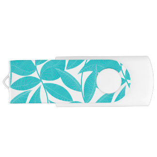 Turquoise tropical leaves USB flash drive