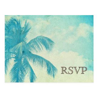 Turquoise Tropical Palm Tree Wedding RSVP Postcard