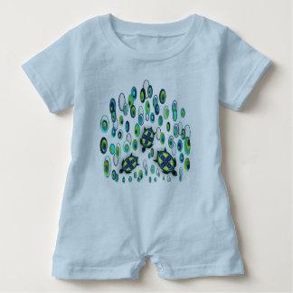 turquoise turtle 37 baby bodysuit