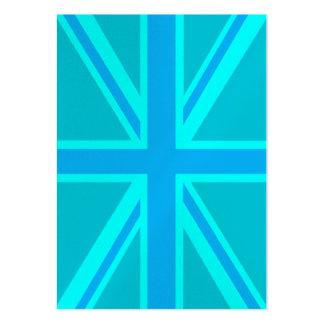 Turquoise Union Jack British Flag Customise it Business Cards