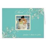 Turquoise+Vanilla Swirls Photo Thank You/DIY colou Greeting Card