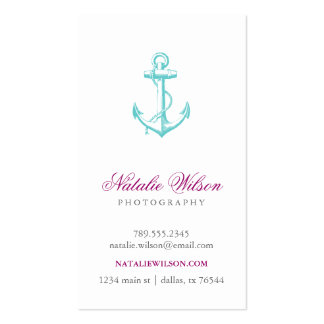 Turquoise Vintage Anchor Vertical Business Cards