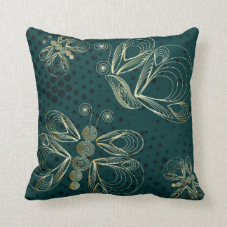 Turquoise vintage butterfly seamless pattern throw pillow