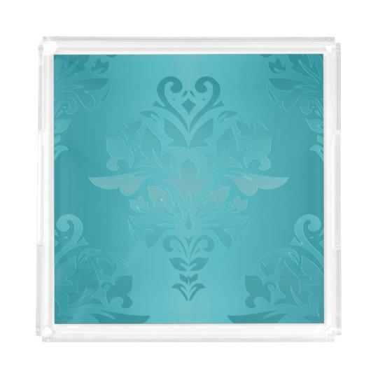 Turquoise Vintage Grunge Damask Print Acrylic Tray