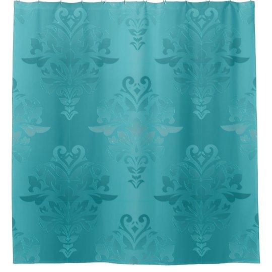 Turquoise Vintage Grunge Damask Print Shower Curtain