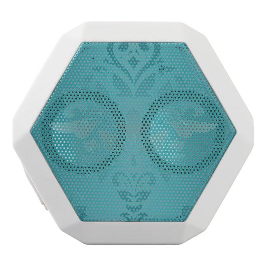 Turquoise Vintage Grunge Damask Print White Bluetooth Speaker