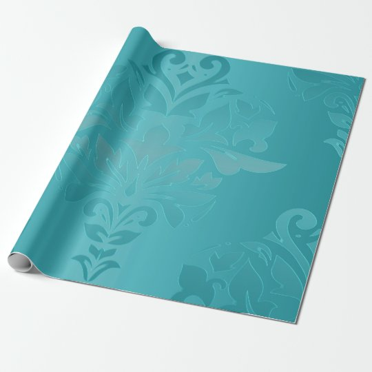 Turquoise Vintage Grunge Damask Print Wrapping Paper