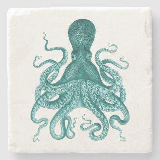 Turquoise Vintage Octopus Illustration Stone Beverage Coaster