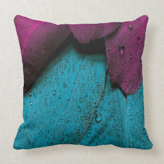 Turquoise Violet Feather Throw Pillow