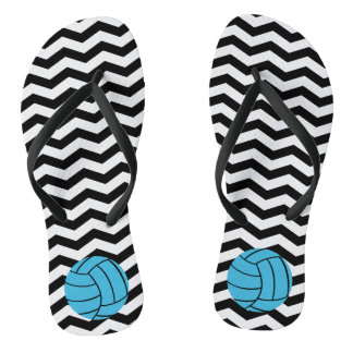 Turquoise Volleyball Chevron Flip Flops Thongs