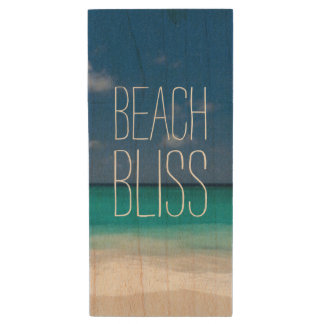 Turquoise Water Beach Bliss Wood USB Flash Drive