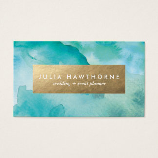 Turquoise Watercolor and Gold Faux Foil