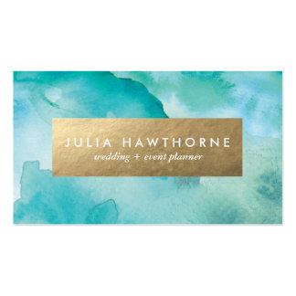 Turquoise Watercolor and Gold Faux Foil Pack Of Standard Business Cards
