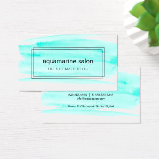 Turquoise Watercolor Boxed Business Card