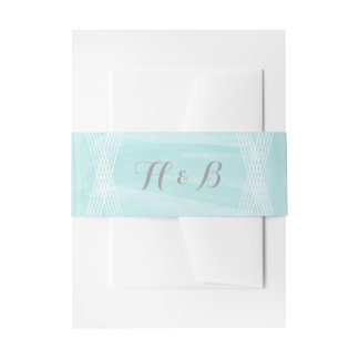 Turquoise Watercolor Deco Wedding Invitation Belly Band