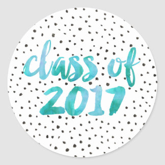 Turquoise Watercolor | Graduation Round Sticker