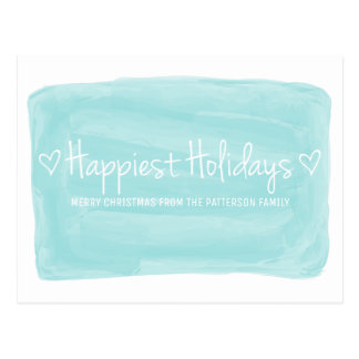 Turquoise Watercolor Happiest Holidays Postcard