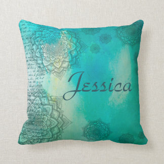 TURQUOISE WATERCOLOR MANDALA COLLAGE CUSHION