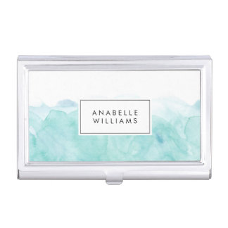 Turquoise Watercolor Modern Business Card Holder
