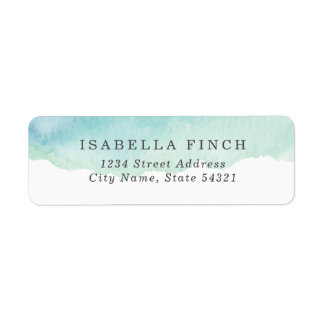 Turquoise Watercolor Return Address Label