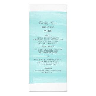 Turquoise Watercolor Wedding Menu 4x9.25 Paper Invitation Card