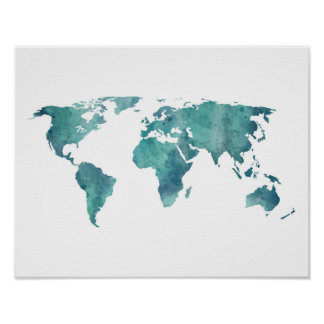 Turquoise Watercolor World Map Poster