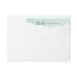Turquoise Watercolor Wrap Around Label
