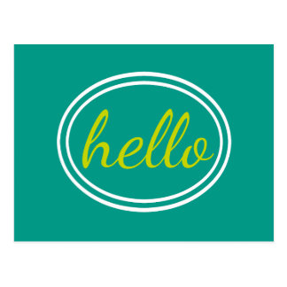 Turquoise Waters and Lime Green Hello Postcard