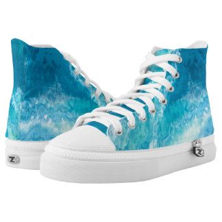 Turquoise & White Abstract High Tops