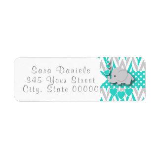 Turquoise, White and Gray Elephant Baby Shower 2 Return Address Label