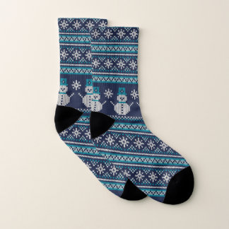 Turquoise White Blue Snowman FairIsle Knitting 1